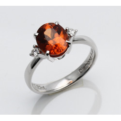 Mandarin-Granat Ring mit Diamant 750er WG 3,32 ct Gr. 54-Gold-Ringe