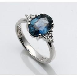 Blauer Saphir-Ring 3,51 ct in 750er WG mit Brillanten Gr. 54 -Gold-Ringe