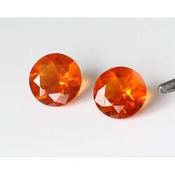 Feueropal Paar facettiert 7 mm rund 1,46 Karat