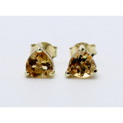 Citrin Ohrstecker Herz-Form facettiert in vergoldetem Silber-Edelstein-Ohrringe
