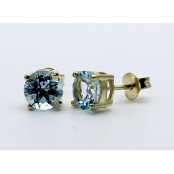 Blau-Topas Ohrstecker facettiert 7 mm rund in vergoldetem Silber-Edelstein-Ohrringe