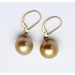 Perlen-Ohrringe - Südsee-Perlen goldfarben mit 585/-Brisur-Perlen-Ohrringe