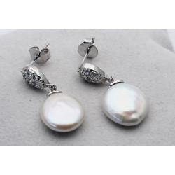 Perlen-Ohrstecker weiße Süßwasser-perlen mit Silberund Zirkonia-Perlen-Ohrringe