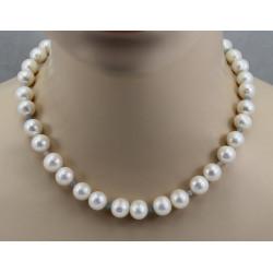 Perlenkette - große weiße Süßwasser-Perlen mit Aquamarin 46,5 cm-Perlenschmuck