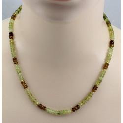 Grossulargranat Kette - facettierte Grossular Rondelle in grün braun 50 cm