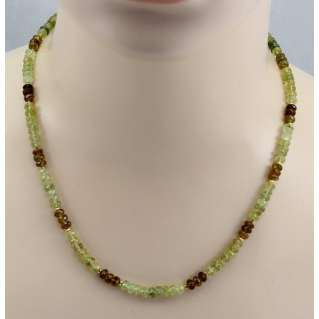 Grossulargranat Kette - facettierte Grossular Rondelle in grün braun 50 cm-Edelsteinketten
