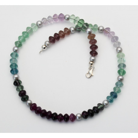 Fluorit Kette - lila grüne Fluorit Rondelle mit Süßwasser-Perlen 45,5 cm-Edelsteinketten