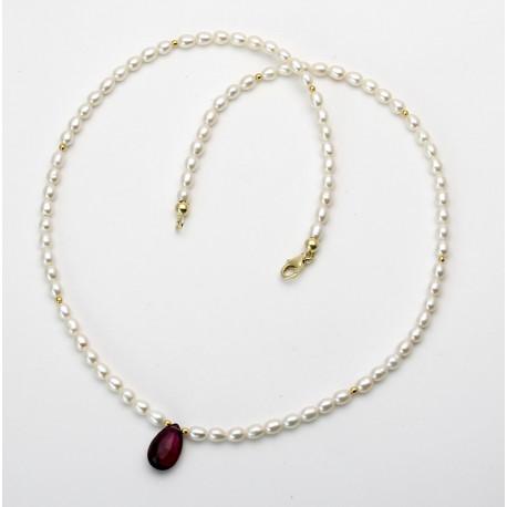 Perlenkette mit Rubellit - weiße Süßwasser-Perlen mit rotem Turmalin Tropfen-Perlenketten