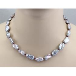 Keshi-Perlenkette silbergrau mit Rhodolith-Granat 46 cm lang