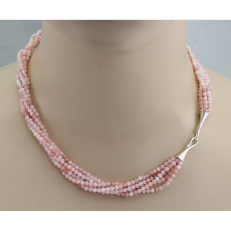 Rosa Anden-Opal Collier fünf-reihig facettiert mit Silberschließe-Edelsteinketten