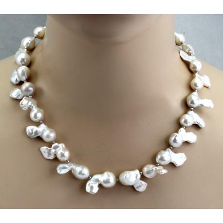 Süßwasser-Perlenkette weiße Mingperlen Fireballs in 50 cm Länge-Perlenketten