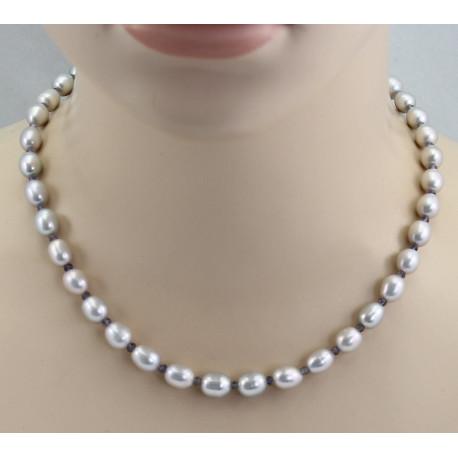 Süßwasser-Perlenkette silbergraue ovale Perlen mit Iolith 47 cm-Perlenketten