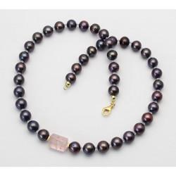 Süßwasser-Perlenkette mocca mit Rosenquarz 53 cm lang-Perlenketten