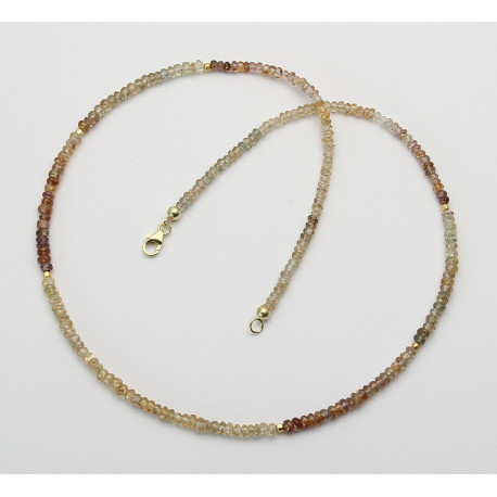 Zirkon Kette facettierte Rondelle multicolour 48,5 cm lang-Edelsteinketten