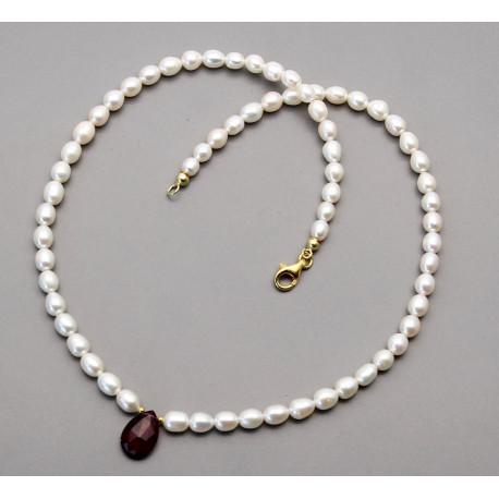 Süßwasser-Perlenkette mit facettierten Rubellit in 47 cm Länge-Perlenketten