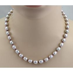 Süßwasser-Perlenkette silbergraue ovale Perlen mit Granat 47,5 cm lang-Perlenketten