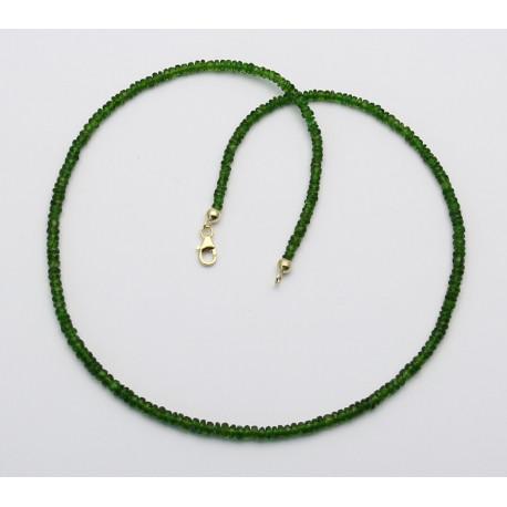 Chrom-Diopsid kette facettierte grüße Diopside aus Russland 45 cm lang-Edelsteinketten