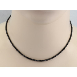 Diamant-Kette schwarz facettiert 19 Karat 40 cm lang