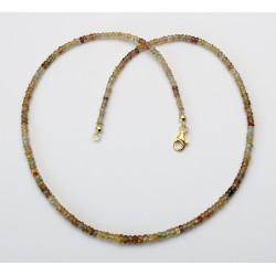 Zirkon Kette facettierte Rondelle multicolour 48,5 cm lang