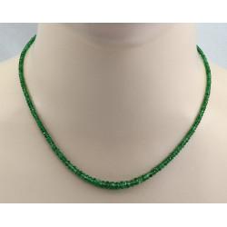 Tsavorit Kette - facettierter grüner Granat vom Feinsten 44 cm lang-Edelsteinketten