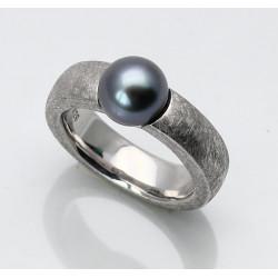 Silber-Ring mattiert mit Tahiti Perle 8,5 mm rund Ringgröße 55