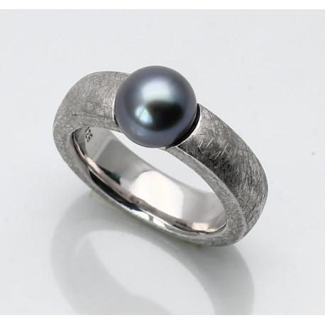 Silber-Ring mattiert mit Tahiti Perle 8,5 mm rund Ringgröße 55-Silberringe