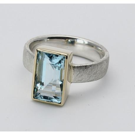 Aquamarin Ring 3,85 Karat in mattiertem Silber und 585er Gelbgoldfassung Gr. 56-Silberringe