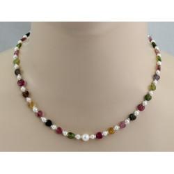 Turmalin-Kette - bunte Turmalin-Herzen mit Perlen45 cm lang-Edelsteinketten