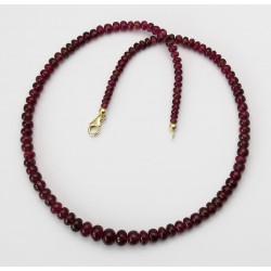 Turmalin Kette rot - Rubellite in Rondellform Halskette 46,5 cm-Edelsteinketten