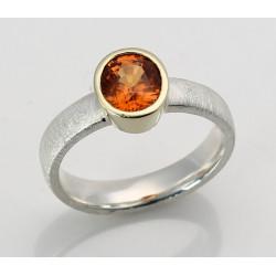 Silberring mit Mandarin-Granat in 585er Goldfassung Gr. 57-Silberringe