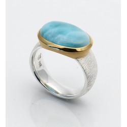 Larimar-Ring - Silberring mit Atlantisstein Größe 56,5