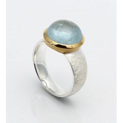 Aquamarin-Ring in Silber mit vergoldeter Fassung Gr. 55