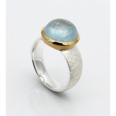 Aquamarin-Ring in Silber mit vergoldeter Fassung Gr. 55-Silberringe
