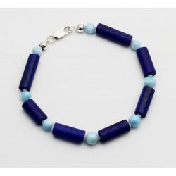 Lapislazuli Armband mit Larimarund Perlen 20 cm lang-Edelstein-Armbänder