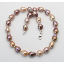 Süßwasser-Perlenkette - Mingperlen Fireballs in Naturfarben 46 cm lang