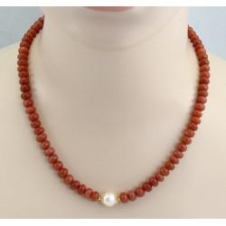 Rosa Mondsteinkette mit Perle in 50 cm Länge