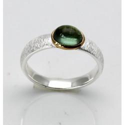 Turmalin-Ring - grüner Turmalin Cabochon in Silber und Gold plattiert Gr. 53,5-Silberringe