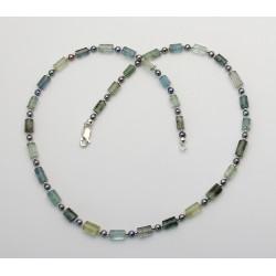 Beryll-Kette Aquamarin Helidor und Moosaquamarin mit grauer Perle 50 cm lang-Edelsteinketten