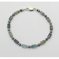 Beryll-Armband - Edelberyll Kristalle mit garuer Süßwasser-Perle 19 cm lang-Edelstein-Armbänder