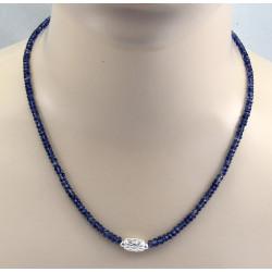 Kyanit Kette blau facettiert mit Silber-Element 49,5 cm lang-Edelsteinketten