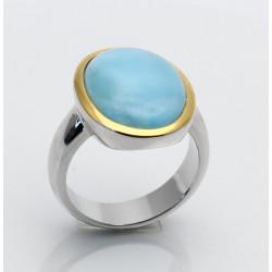 Larimar-Ring in Silber mit vergoldeter Rand - Ring Gr. 54-Silberringe