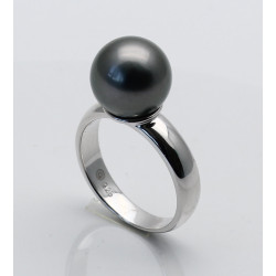 Silberring mit garuer Tahiti-Perle 11,32 mm rund Ringgröße 55-Silberringe