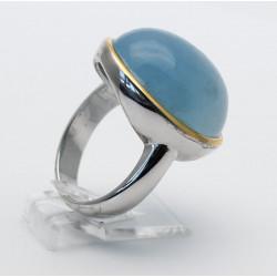 Silberring mit runden Aquamarin Cabochon Ringgröße 59-Silberringe