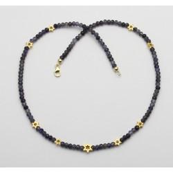 Iolith Kette blau facettiert mit goldenen Sternen in 44,5 cm Länge-Edelsteinketten