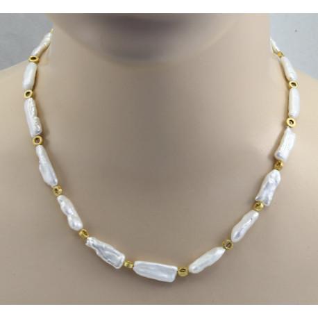 Perlenkette - Süßwasser-Perlen mit goldenen Elementen 47 cm lang-Perlenketten