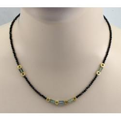 Spinell Kette schwarz mit Beryll Kristallen 47 cm lang-Edelsteinketten