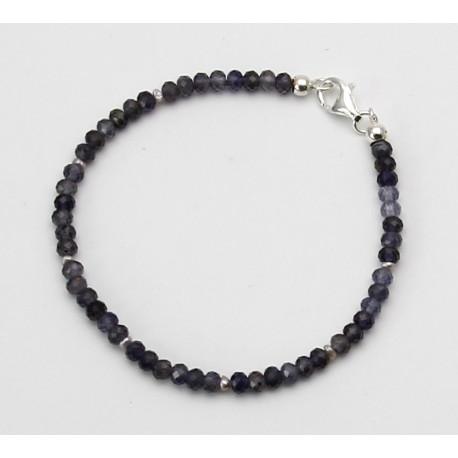 Iolith Armband blau facettiert mit Perlen 19,5 cm lang-Edelstein-Armbänder