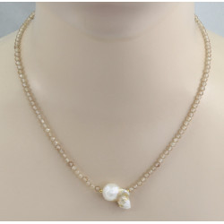 Zirkon Kette beige facettiert mit Ming-Perle 47 cm lang-Edelsteinketten