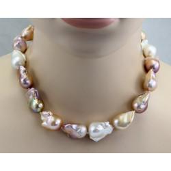 Perlenkette - naturfarbene Fireball-Perlen geknotet mit Magnetschließe 47 cm-Perlenketten