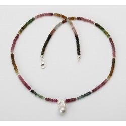 Turmalin-Kette - feine facettierte Turmaline mit Ming-Perle und Silber 47 cm-Edelsteinschmuck